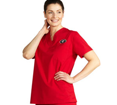 University of Georgia Unisex College Scrub Top 5450