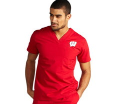 University of Wisconsin Unisex College Scrub Top 5450